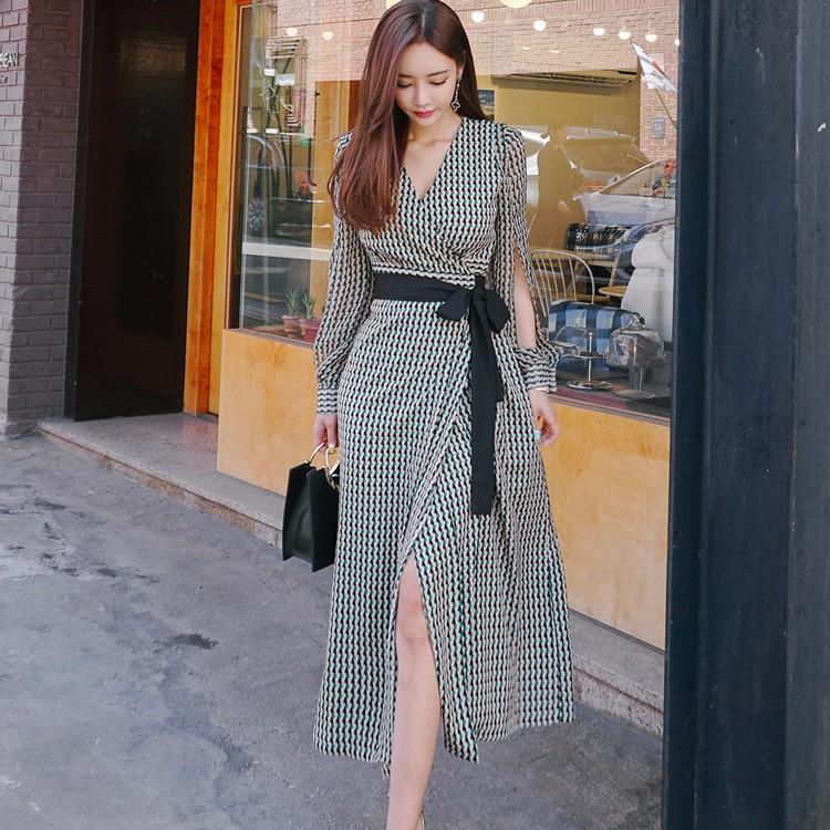 韓国ファッション Vネックマキシワンピース