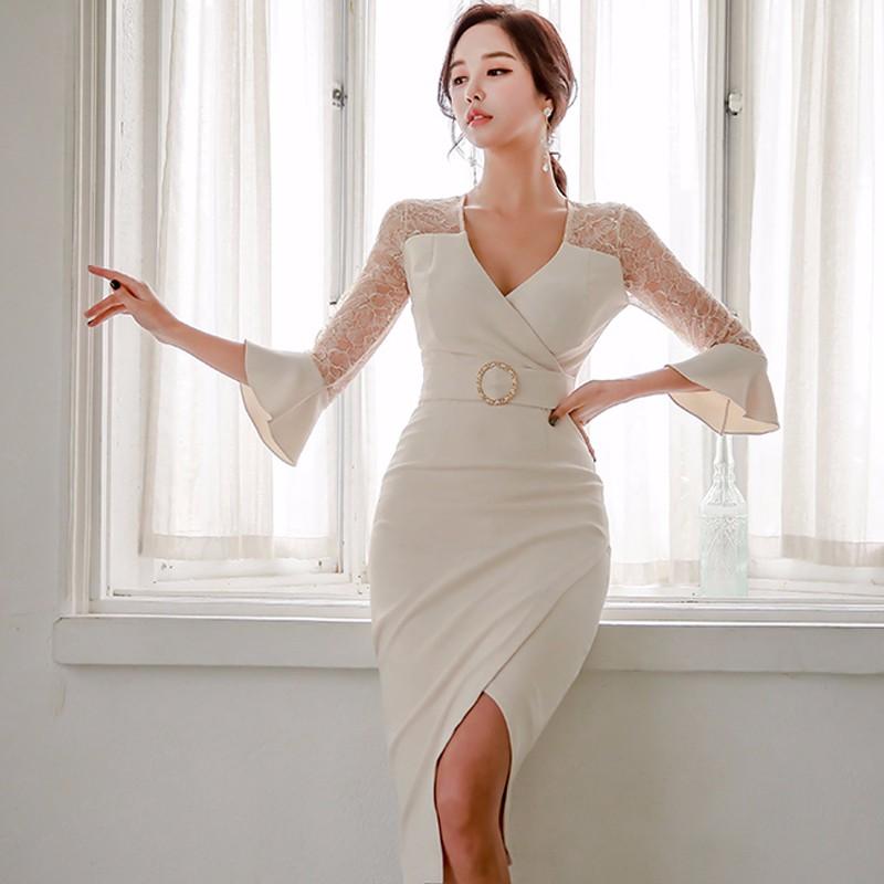 Vネックワンピース レース切り替え 不規則ワンピース 韓国ファッション