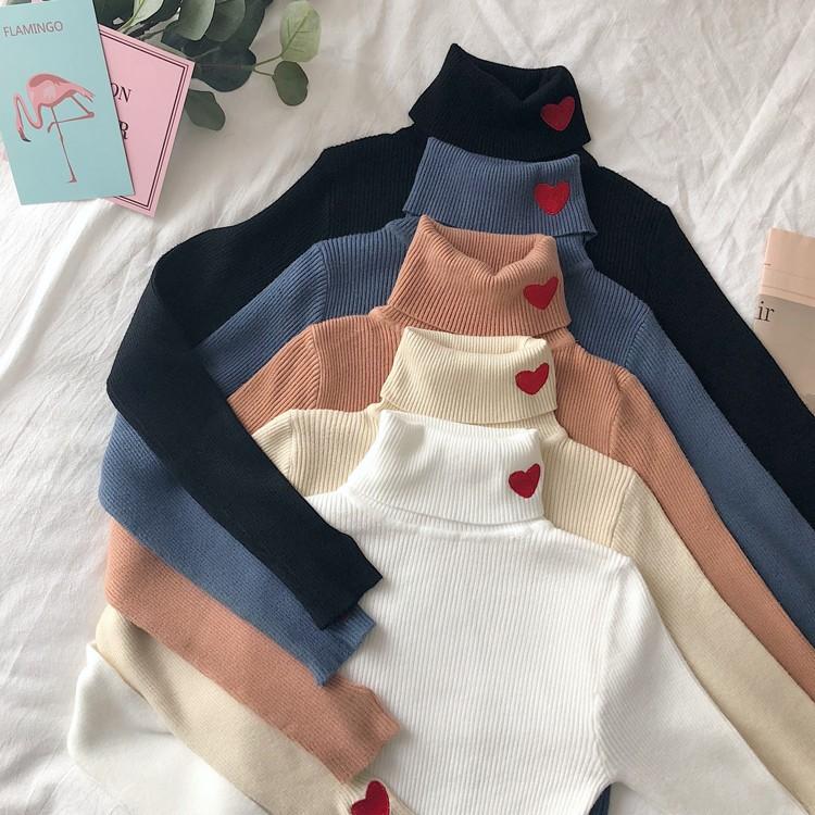 秋冬  スリムの愛  タートルネックを刺繍します  毛糸のセーターのニット-1