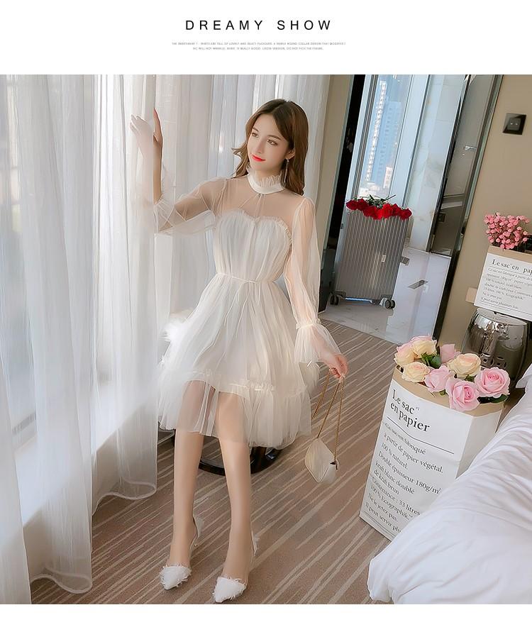 春服の新作の黒い薄絹のワンピース-1