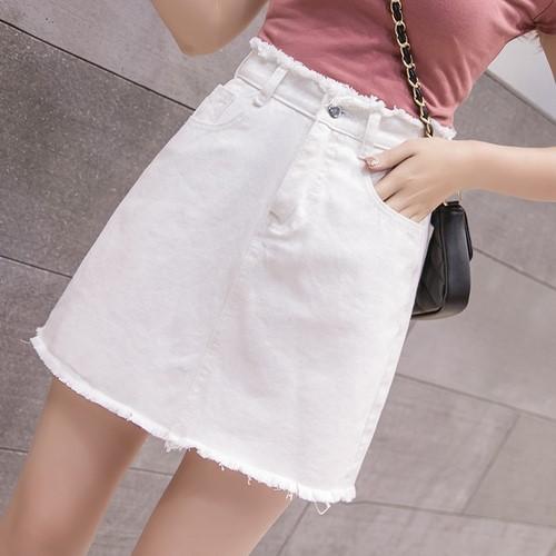 ハイウエストのデニムのコーディネート自在は尻A字のミニスカートを包みます