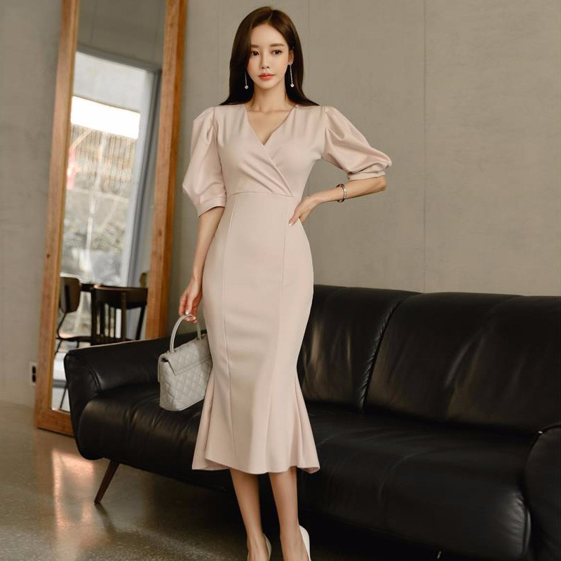 韓国ファッション 提灯袖ロングワンピース Vネック フレアワンピース 五分丈袖