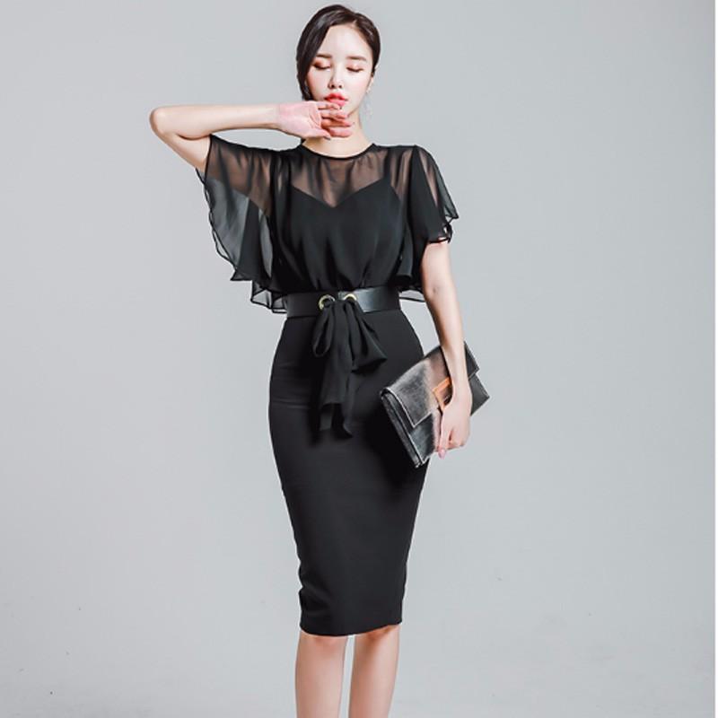 韓国ファッション シースルーデザイン フレア キャミソール スリム-1