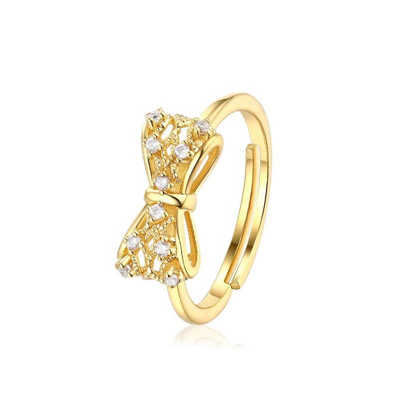 フリーサイズリング 9K リボン AAAジルコニア指輪 イエロゴールド レディースファッションジュエリー