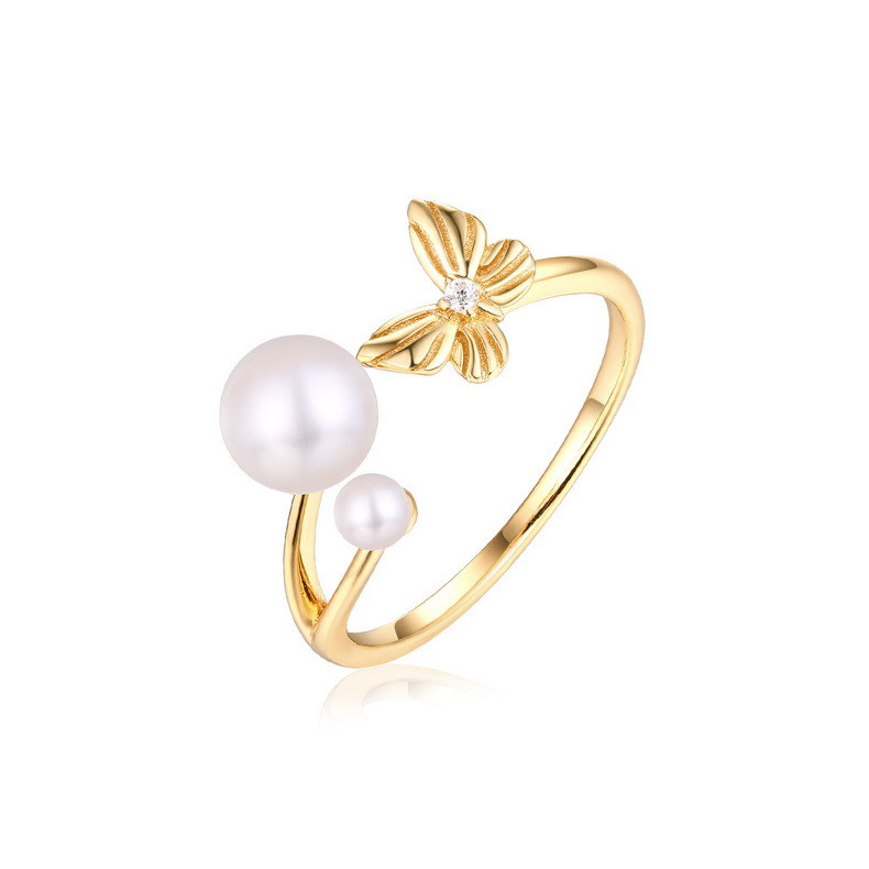 レディース リング フリーサイズ パール 蝶々 指輪 9K シルバー925 ファッションジュエリー