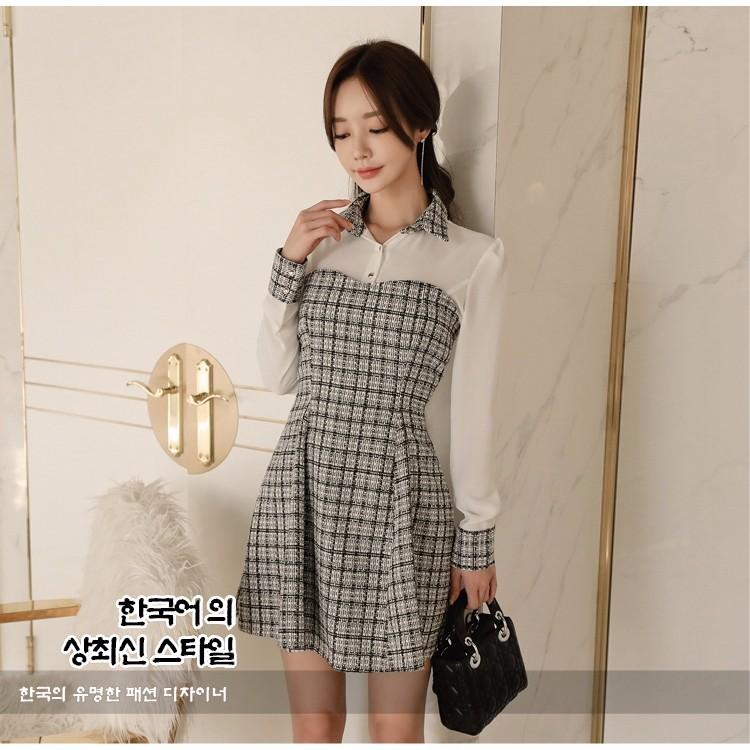 フェイク2枚ワンピース 切り替え ワンピース 韓国ファッション