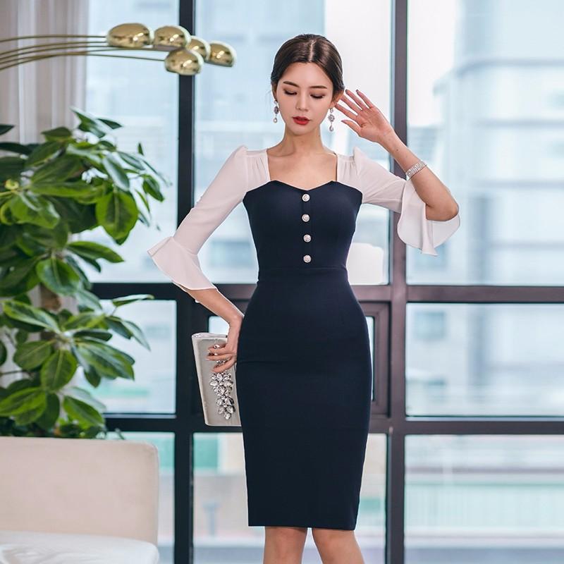 切り替えスリム膝丈ワンピース フレア袖 通勤 エレガント 韓国ファッション