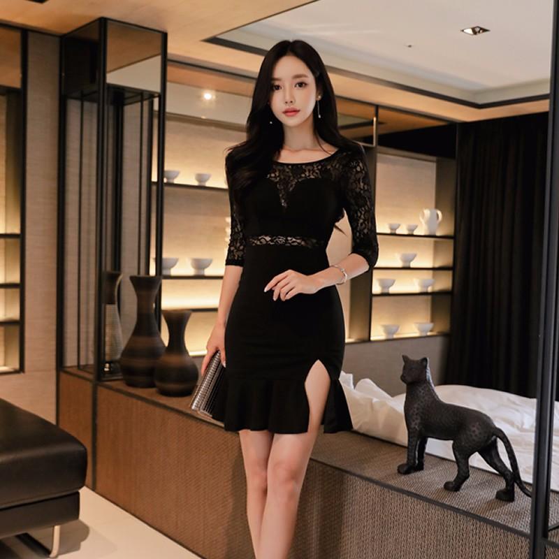 レース切り替え スリット入り ミニワンピース 韓国ファッション ドレス