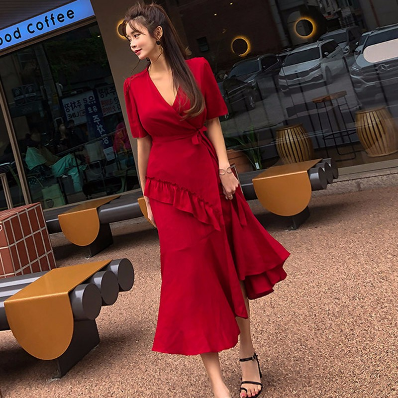 Vネックロングワンピース フレア スリット入り 韓国ファッション