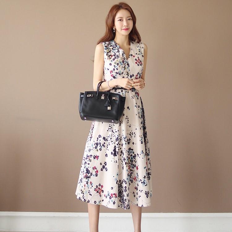 Vネックロングワンピース 袖なしワンピース ベルト付き エレガント ドレス-1