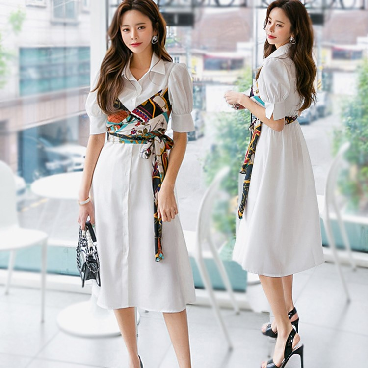 韓国ファッション ブラウスワンピース シャツワンピース フェイク2枚ワンピース