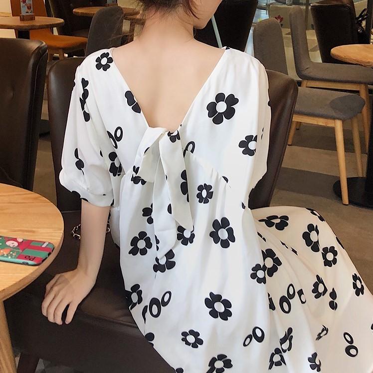 後ろVネック ゆったりロングワンピース 韓国ファッション