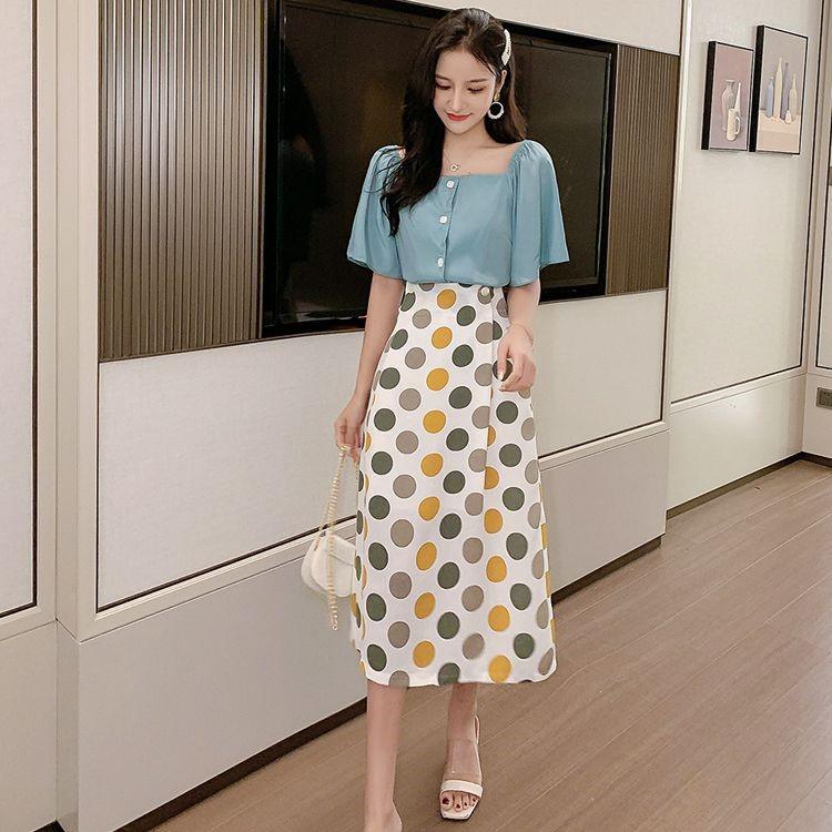 半袖トップス+水玉ロングスカート 2枚セットアップ ドレス