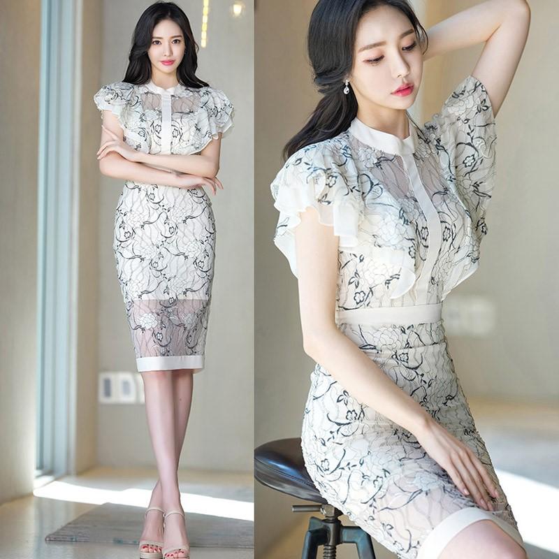 フレア袖 膝丈ワンピース レースワンピース 韓国ファッション