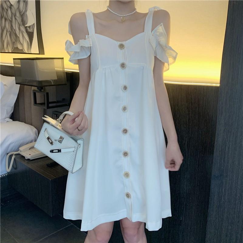 韓国ファッション キャミソールミニワンピース フレア リゾート-1