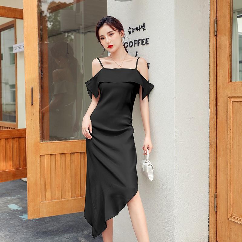 キャミソールロングワンピース 不規則 ドレス-1