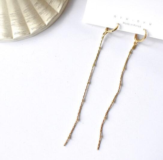 ピアス 925銀 チェーン タッセル 気質 幾何 レディース 韓国ファッション-1