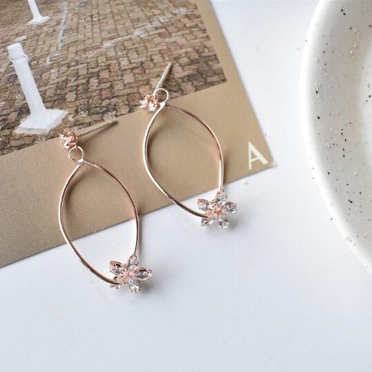 ピアス 925銀 不規則 花 ローズ 気質 幾何 レディース 韓国ファッション-1