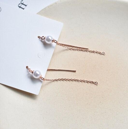 ピアス 925銀 幾何 タッセル パール 線 気質 レディース 韓国ファッション-1