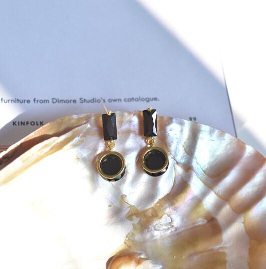 ピアス 925銀 幾何 クリスタル アレルギー対応 レディース 韓国ファッション-1