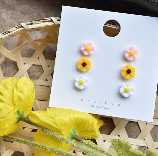 ピアス 花 菊 幾何 シンプル スウィート 個性 韓国ファッション