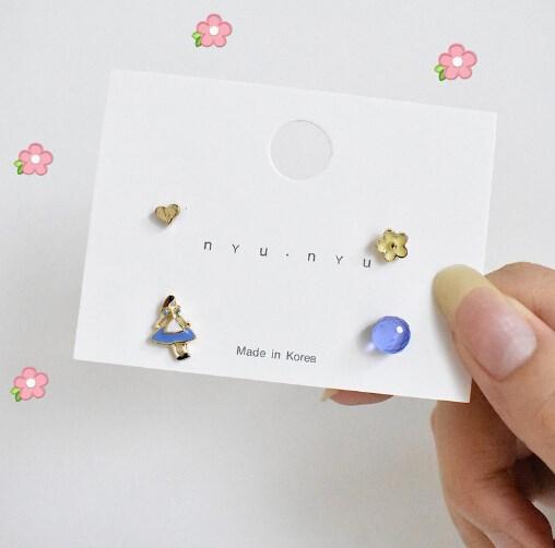 ピアス ミニ 幾何 シンプル 花 四つ 個性 韓国ファッション-1