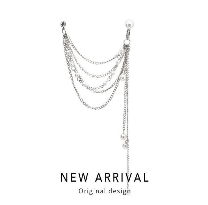 ピアス アクセサリー パール 誇張 気質 個性 真珠 デザイン タッセル 韓国-1