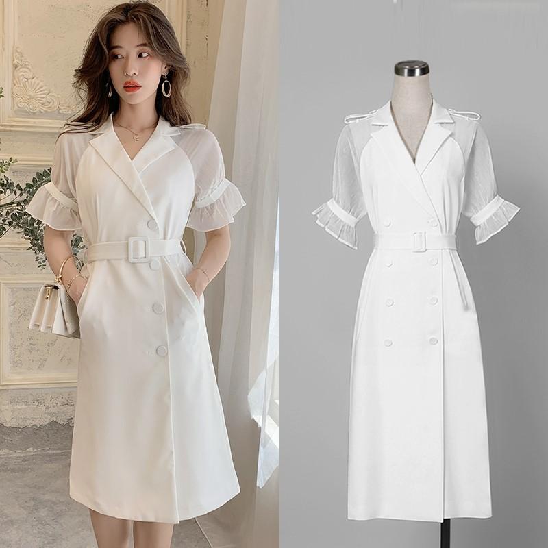 19年新作 ブラウスワンピース 切り替え 真白ドレス