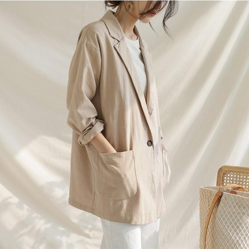 19年秋新作韓国ファッション スーツ アウターコート 棉麻