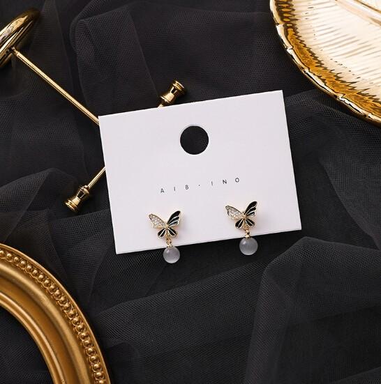 ピアス 925銀 ミニ 蝶々 パール ジルコン 気質 韓国 レディースファッション