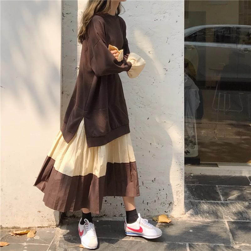 レディースファッション 秋新作パーカ マキシワンピース ロング丈 大きいサイズ 切り替え バイカラー 体型をカバー-1