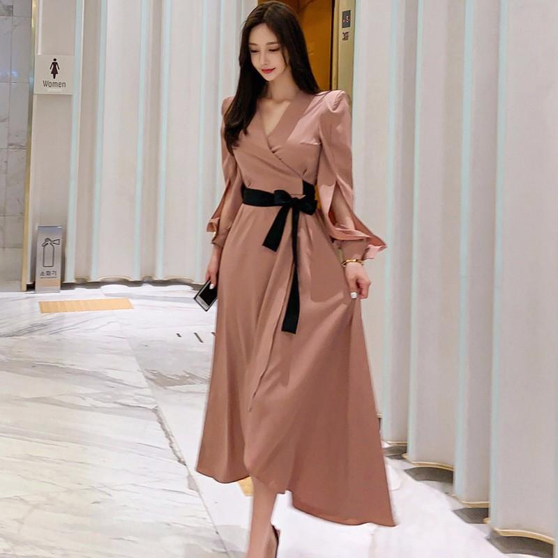 レディースファッション Vネックロングワンピース マキシワンピース ドレス
