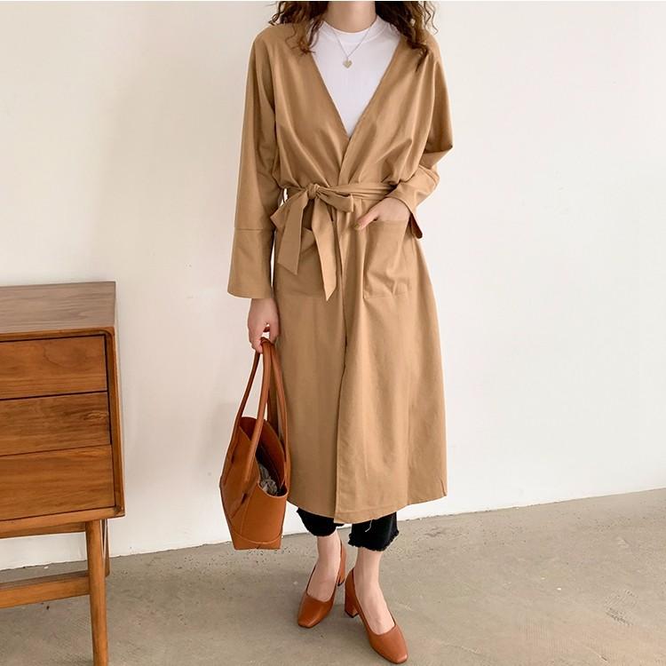 初秋新作 女 棉麻アウターコート ゆったり ロング丈トレンチコート 薄き