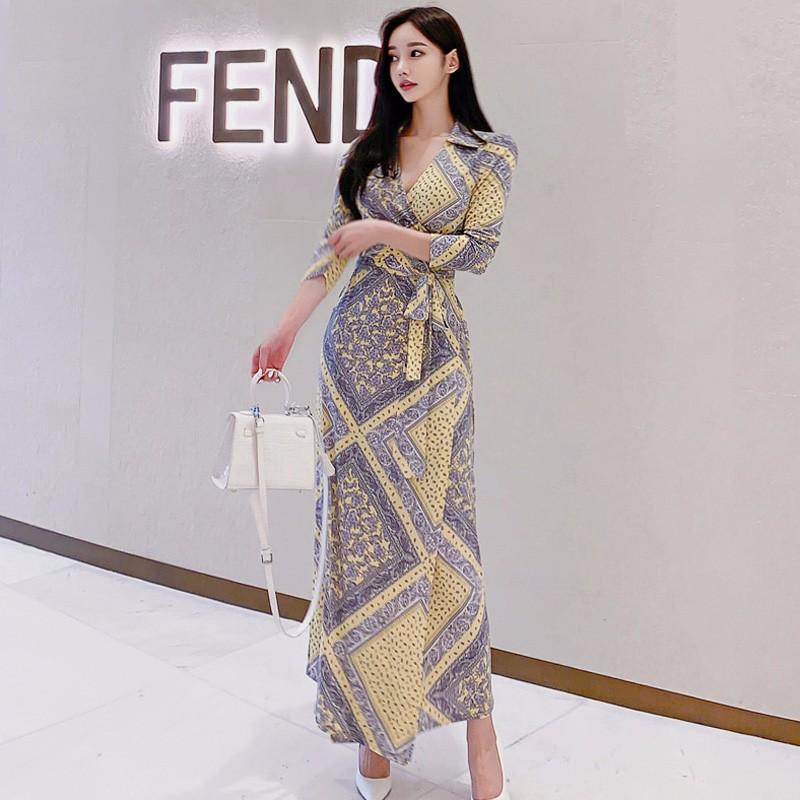 韓国ファッション Vネックマキシワンピース プリント スリット入り-1