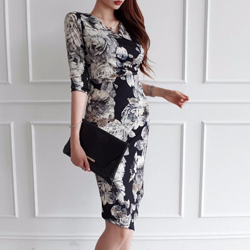 韓国ファッション エレガントVネックロングワンピース 5分袖 花柄プリント