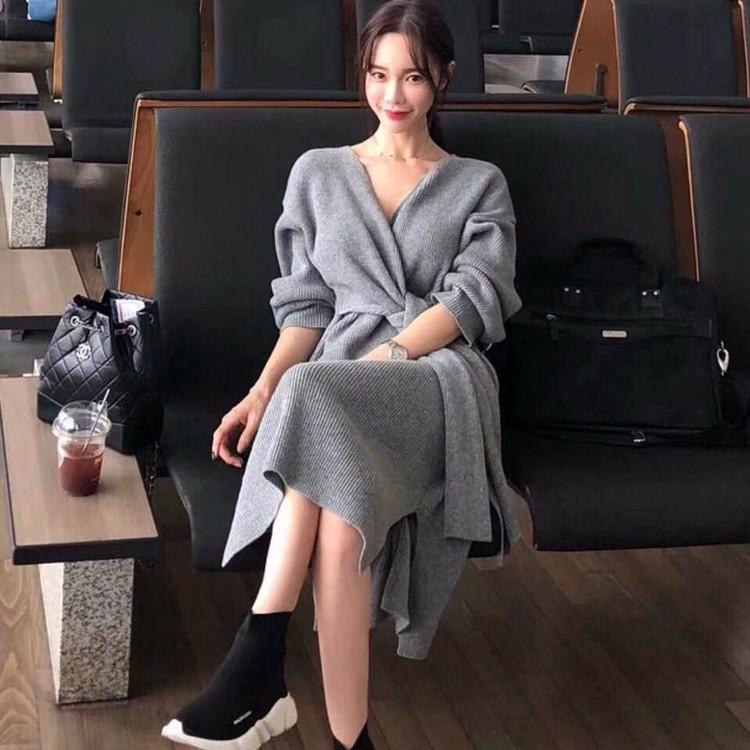 韓国ファッション Vネックニットワンピース ロング丈