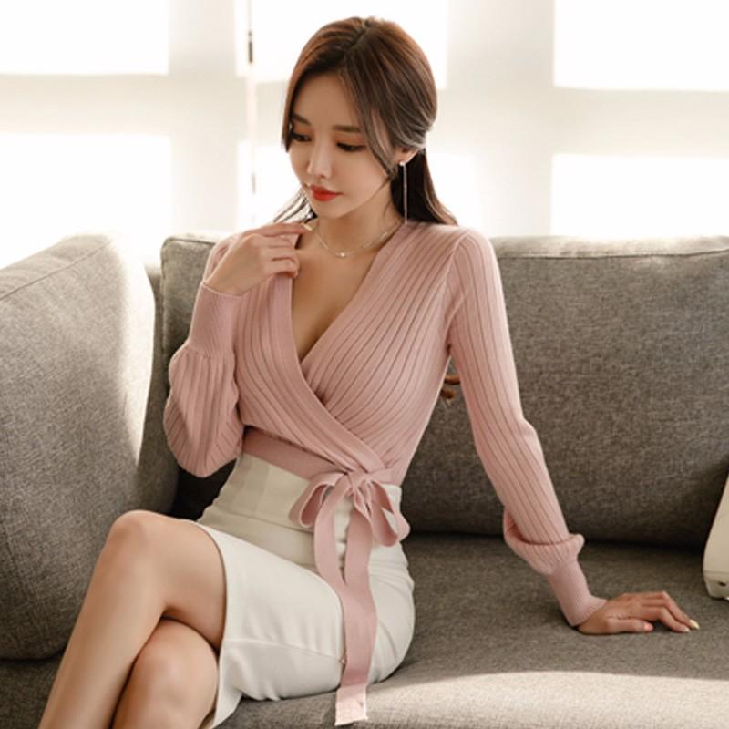 韓国ファッション Vネック リボン付き セーター