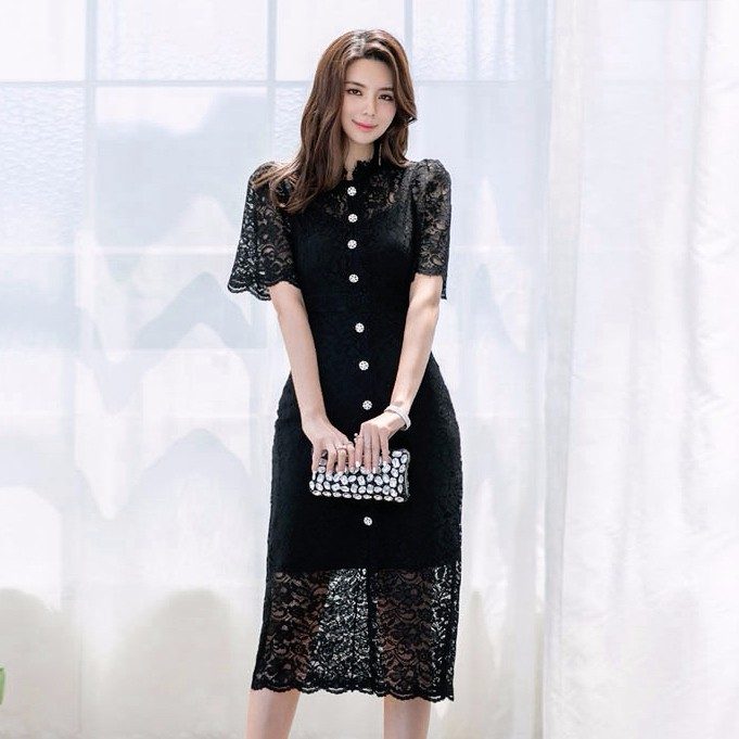 韓国ファッション 総レースドレス ロングワンピース エレガント 女性らしい