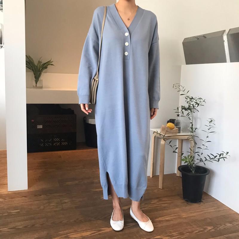 韓国レディースファッション Vネックマキシワンピース ニット オーバーサイズ ロング丈 4色入り フリー