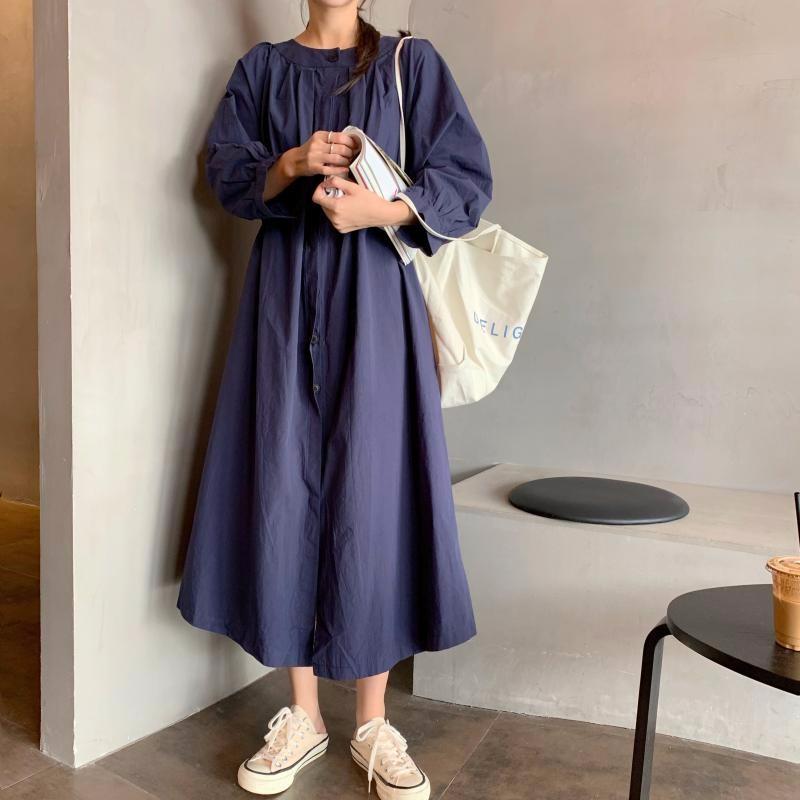 韓国ファッション マキシワンピース ゆったり カジュアル 長袖ワンピース ブラウスワンピース