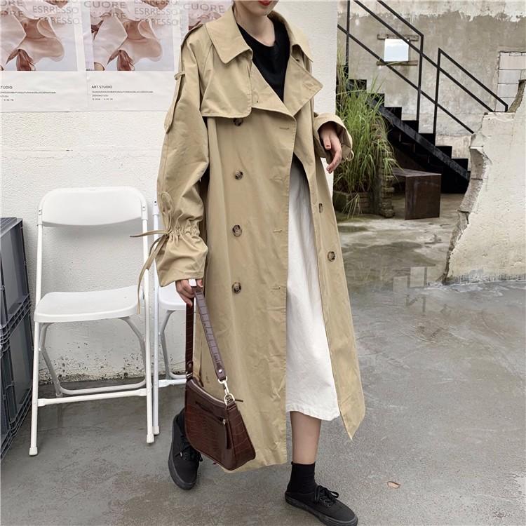 韓国ファッション レディースファッション トレンチコート ロング丈 欧米風 新しいスタイル ジャケット  オーバーサイズ