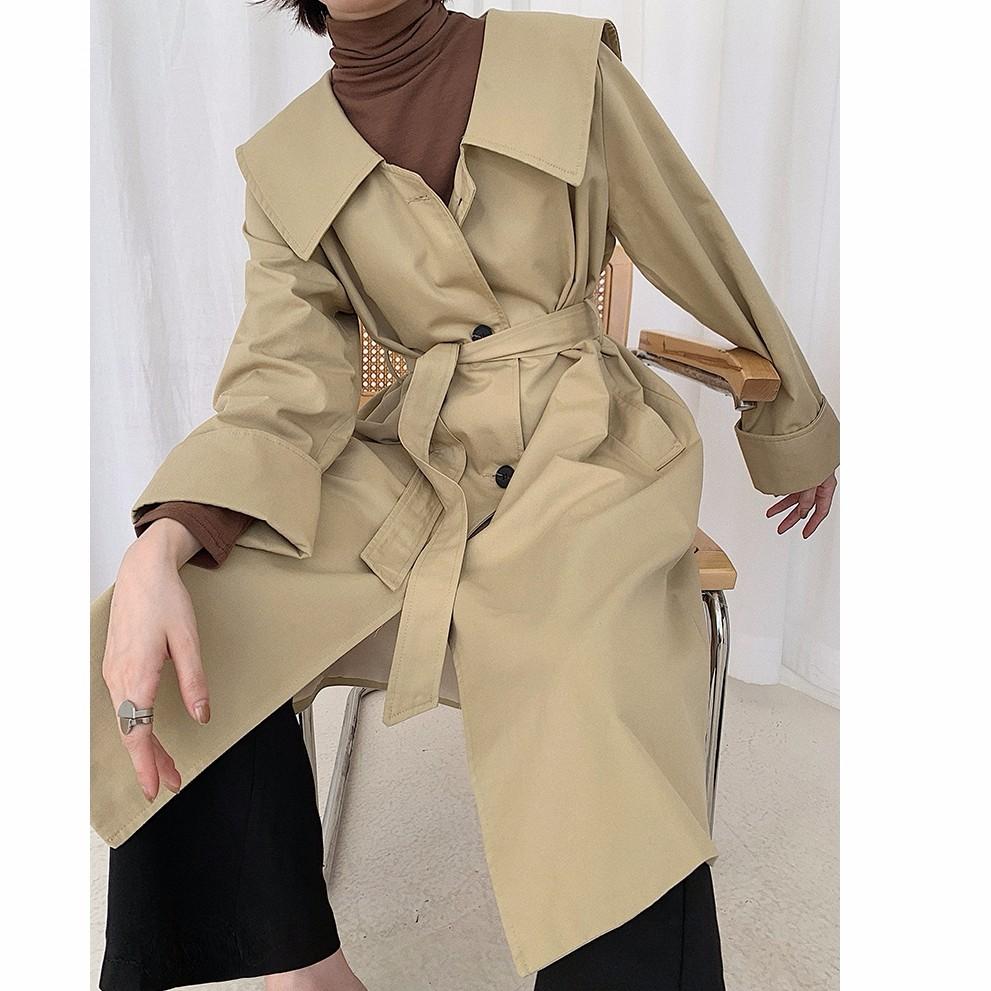 韓国ファッション レディース トレンチコート ロング丈