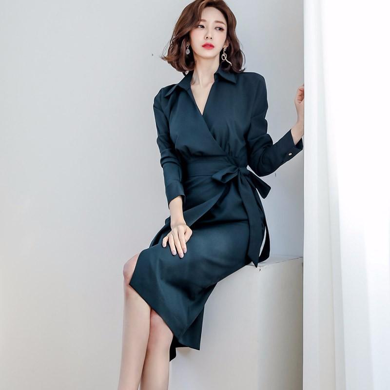 Vネック通勤ロングワンピース リボン付き エレガント OL韓国ファッション
