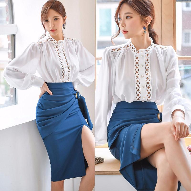 韓国ファッション ラッパー袖ブラウス+スリット入りスカート 上下セットアップ