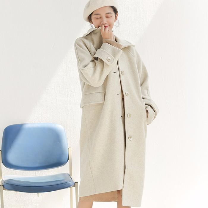 秋冬物 韓国ファッション ラシャアウターコート ゆったり オフショルダー