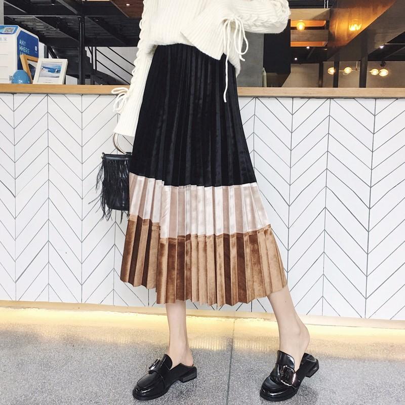 ベロアブリーツスカート バイカラー ロングスカート 切り替え 韓国
