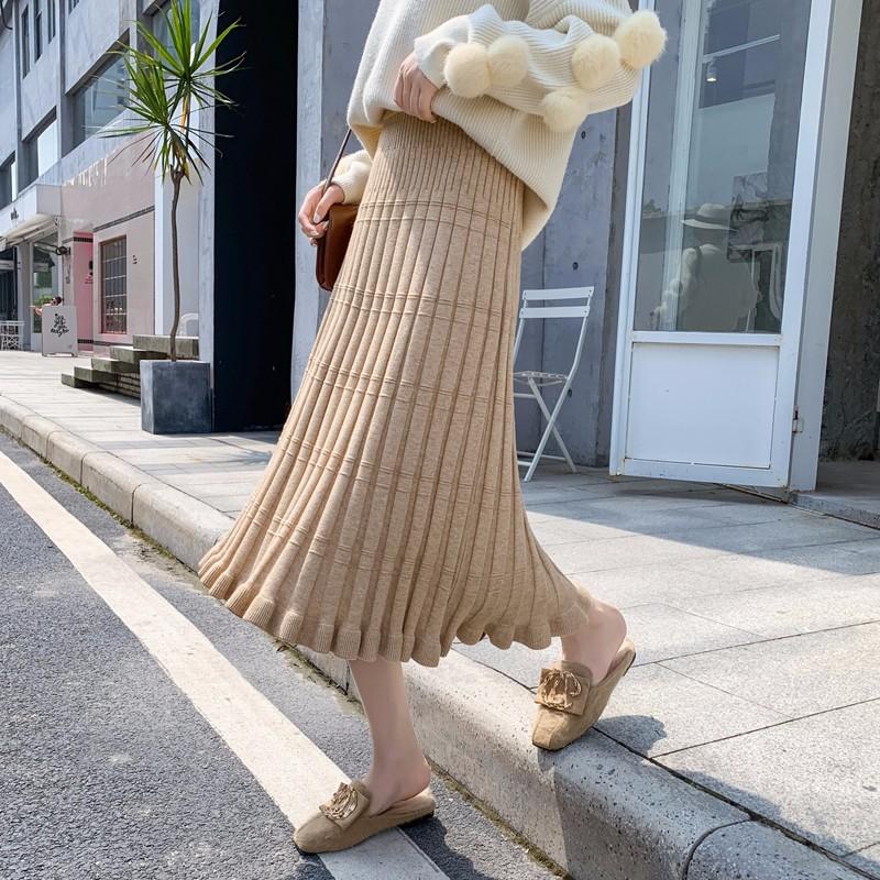 韓国 ロングスカート ニット サーキュラースカート フレア ブリーツ