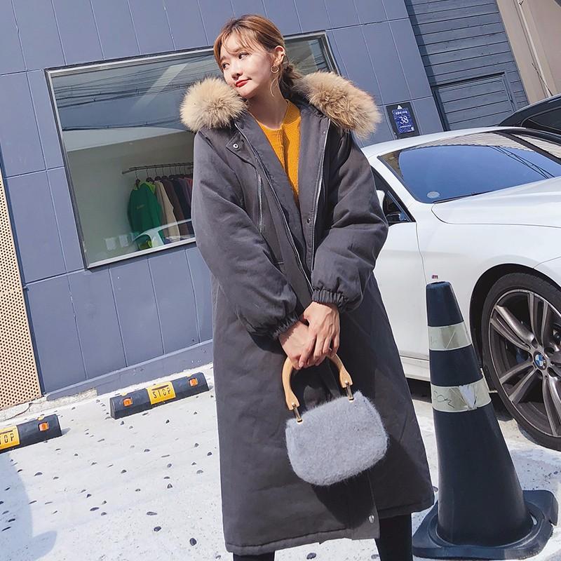 フード付き 加棉ロングアウタージャケット 韓国 オーバーサイズ