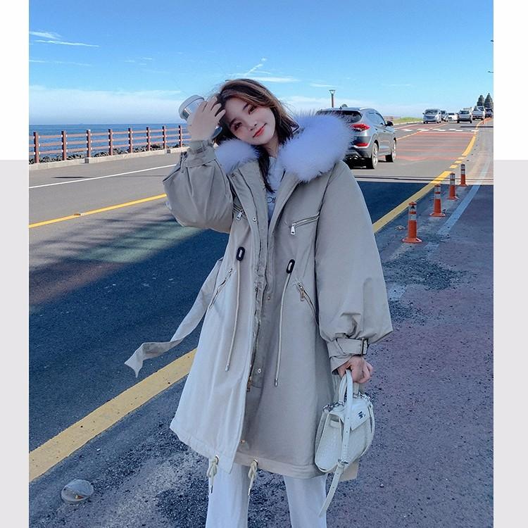 ファー付きロングアウターコート 加棉 綿入りジャケット 冬物-1