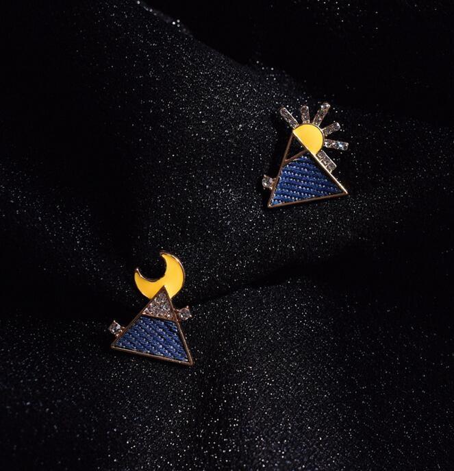 新作 宝石 ピアス アクセサリー シンプル 三角 ブルー sun 日月 非対称